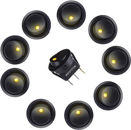 HOTSYSTEM 12V 16A Voiture Interrupteur /à Bascule pour Voiture Bateu avec LED 1rouge+1bleu+1vert+1jaune