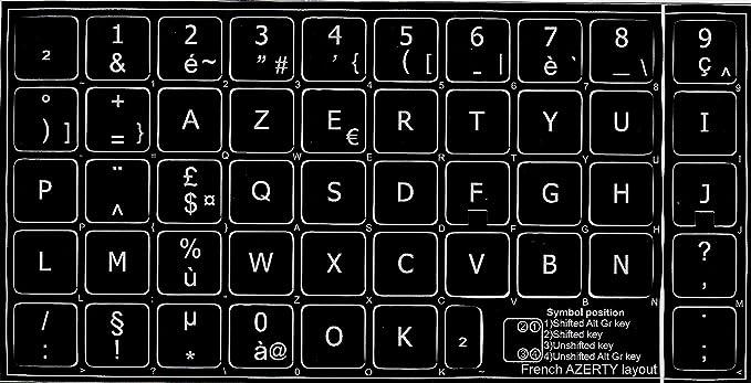 Azerty - Pegatinas autoadhesivas para teclado (fondo negro, 14 x 14 mm)