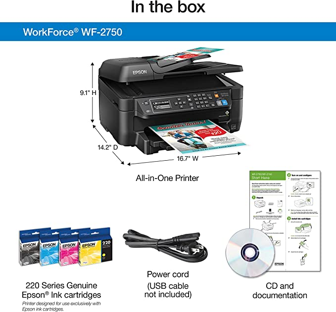 Epson Work Force 2750 All in One Wireless Color Printer