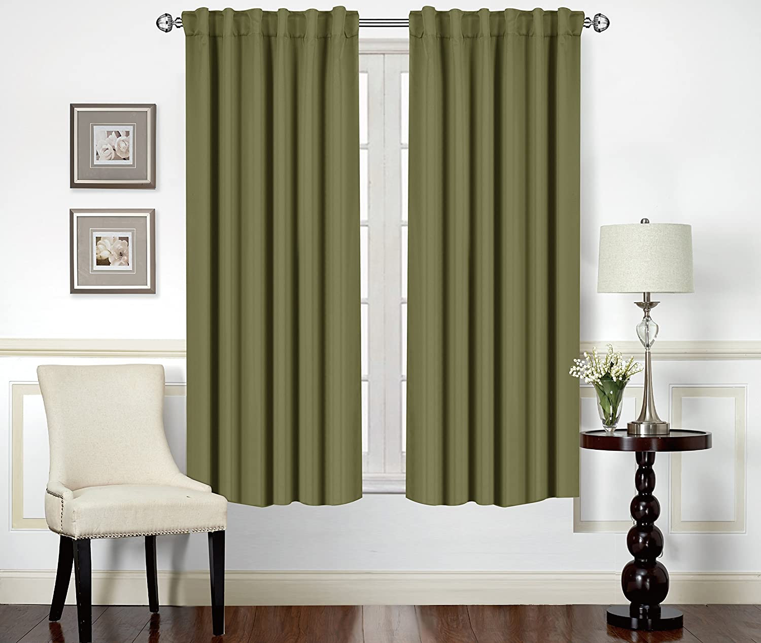 Blackout Room Darkening Curtains Window Panel Drapes - Olive Color 2 Panel Set