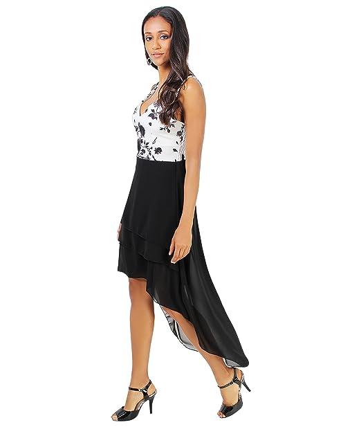 Vestido Asimétrico Floral y Gasa[Blanco/Negro,S/M (36-