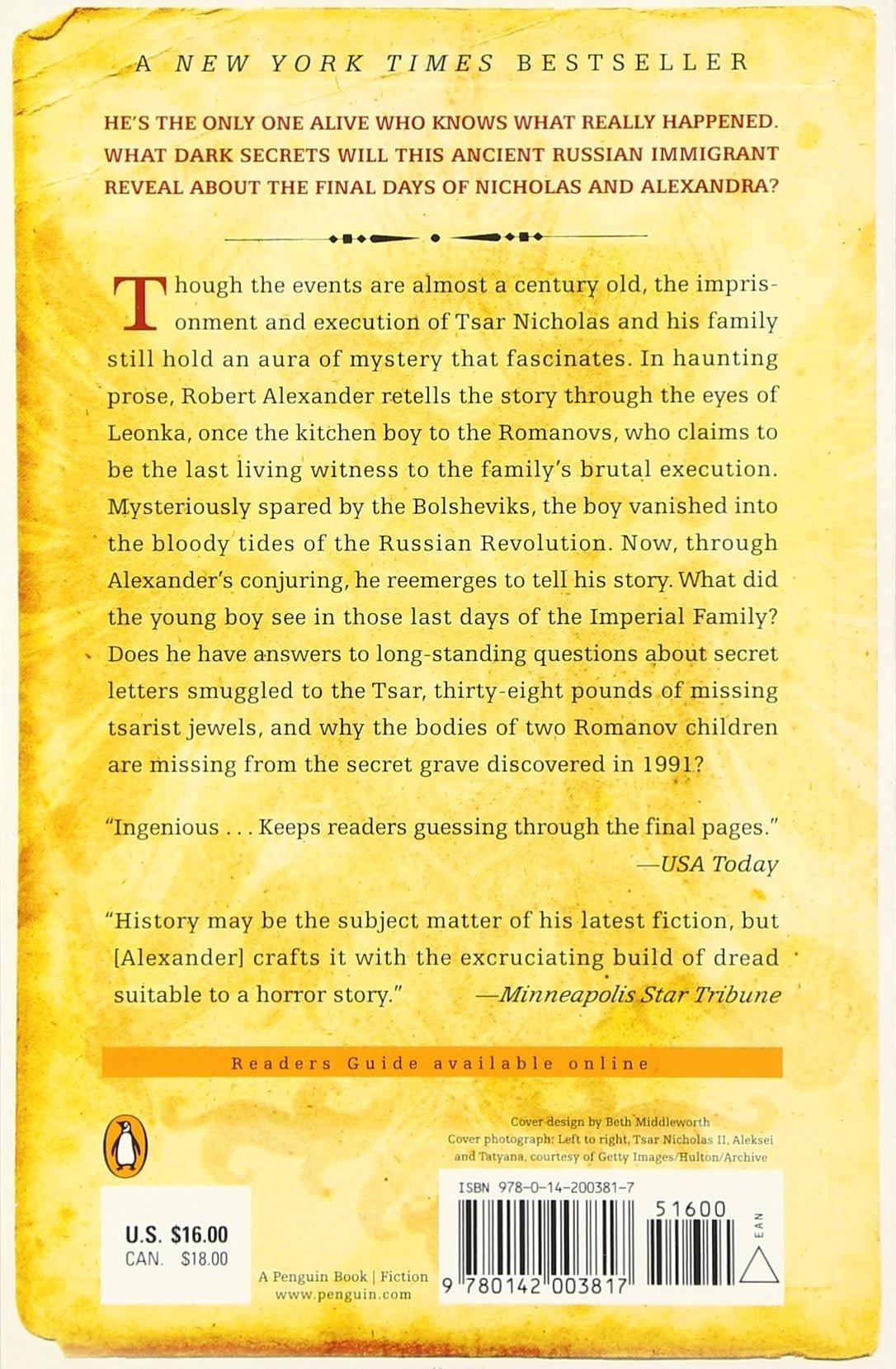 The Kitchen Boy: A Novel Of The Last Tsar: Robert Alexander: 9780142003817:  Amazon: Books