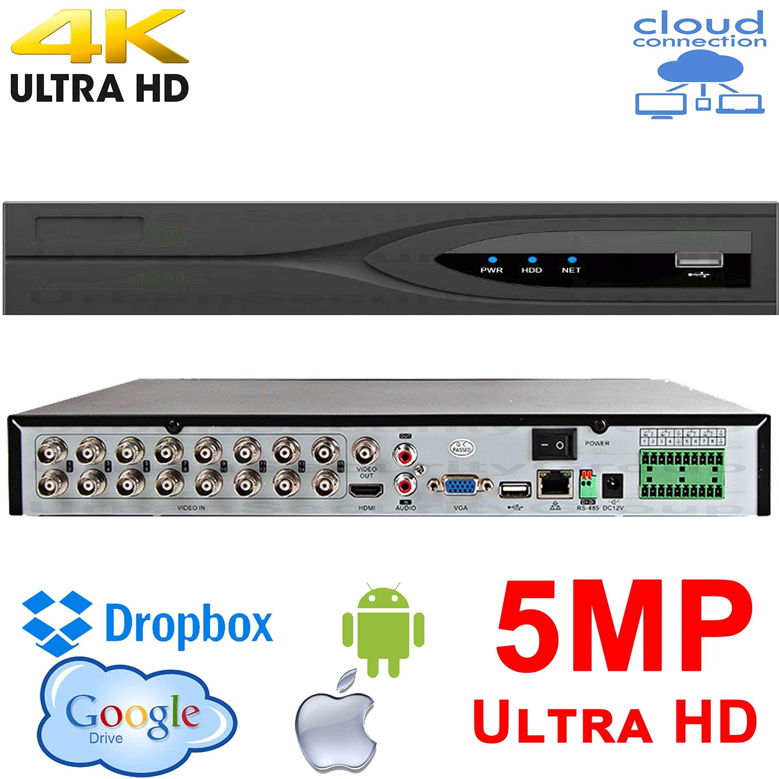 USG Business Grade 16 Channel 5MP 2MP HD-TVI, HD-CVI, AHD, Analog, IP Security Video Recorder DVR + 4TB HDD : 16x BNC, 2X SATA, Ultra 4K HDMI, VGA, BNC, RS485, Audio, Cloud, Plug Play, Free Phone App