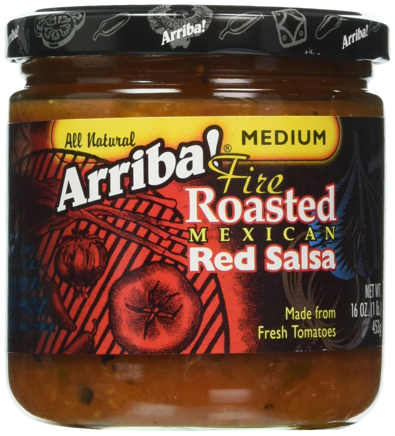 Arriba Fire Roasted Mexican Red Salsa Medium 16 Ounce (Pack of 6)