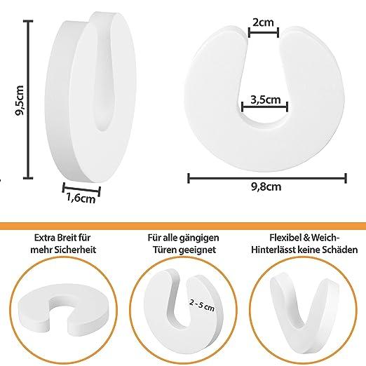 Premium Finger-Klemmschutz und Zufallschutz f/ür T/üren LeBone Schaumstoff-T/ürstopper 6 St/ück wei/ß