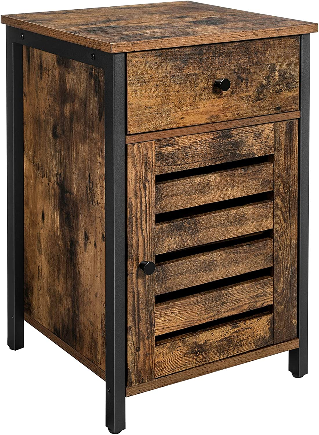 VASAGLE Nightstand, Side Table with Drawer, Shutter Door, End Table with Adjustable Shelf, Metal Frame, Industrial Style, Rustic Brown and Black ULET063B01: Kitchen & Dining