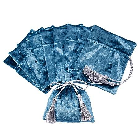 10 x Bolsa de cordón en Velour con bellotas Pochette Joyas ...