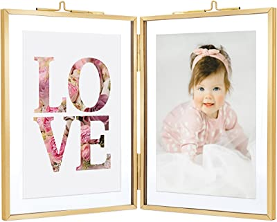 Rising Star Supply Double 3.5 x 5 Picture frames Gold Double Picture Frame With Pressed Glass Photo Frame, Brass