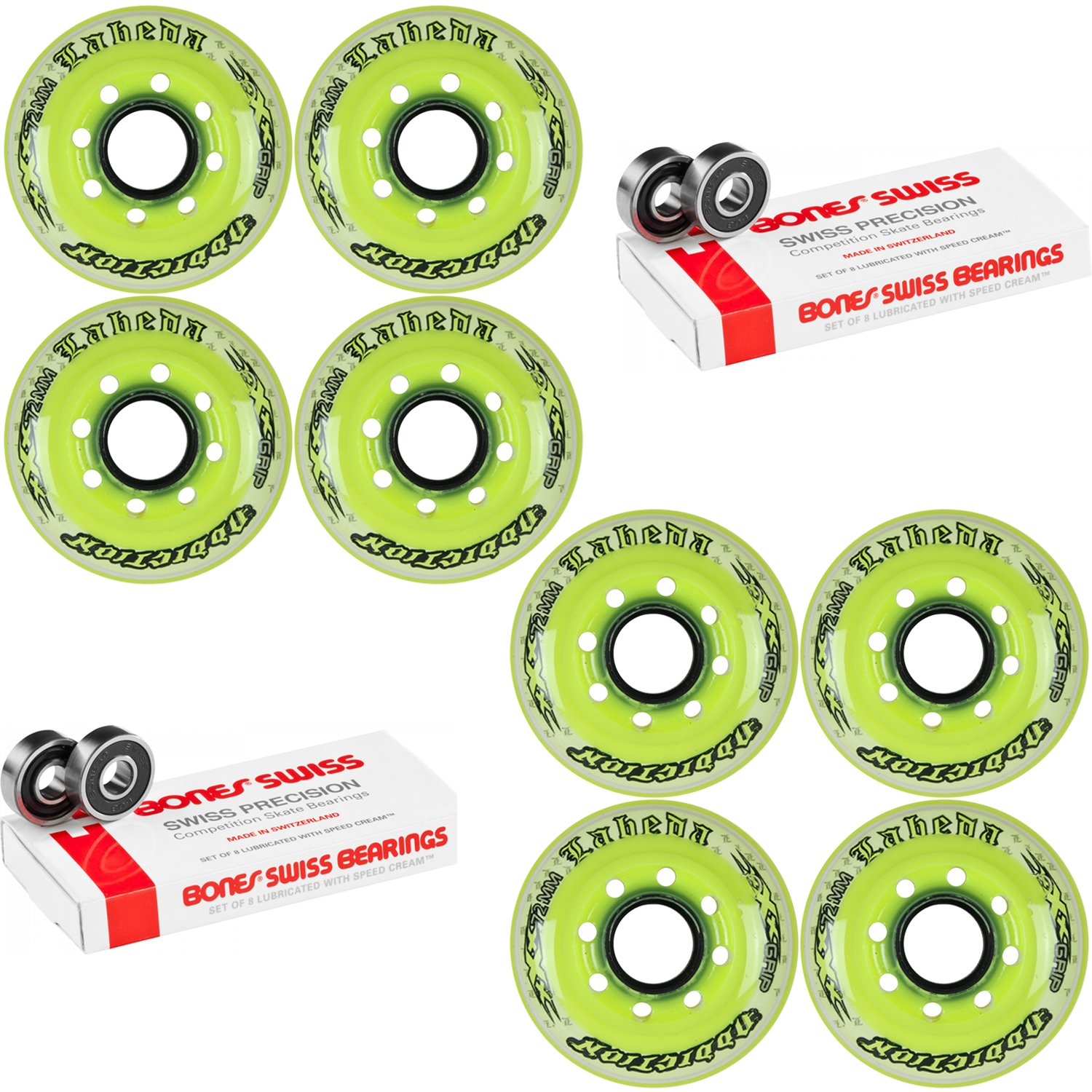 Labeda Addiction Wheels XXX Grip Yellow/White 72mm Roller Hockey x8 +Bones Swiss