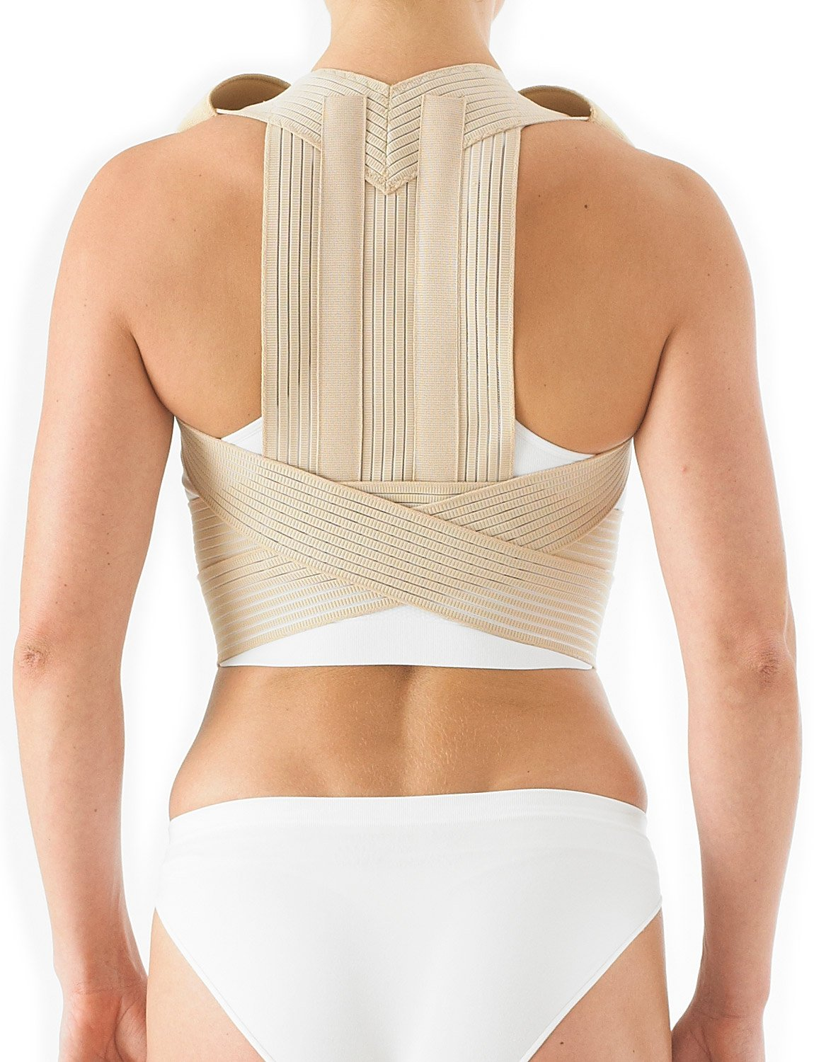 Neo G Clavicle Brace - Back Support For Posture Correction, Early Kyphosis, Rounded Shoulders, Pain Relief, Muscular Aches, Rehab - Fully Adjustable - Class 1 Medical Device - Small - Tan