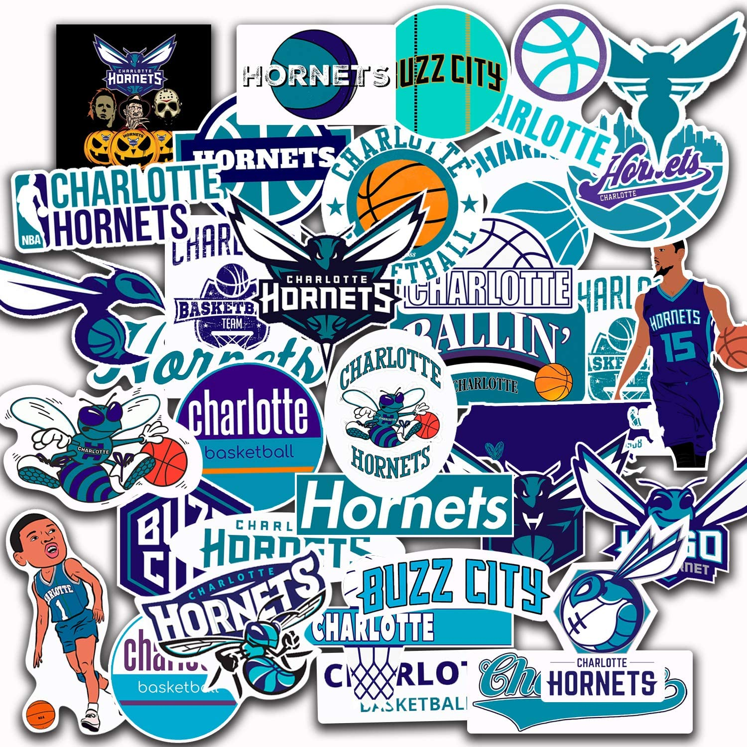 36 PCS Set of Charlotte Decal Hornets Stickers Pack Charlotte Vinyl Hornets 2-2.5 inches