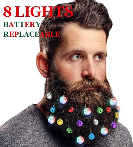 Candy Cane Colorful Sounding Jingle Bells and Lights Beard Bauble Ornaments for Christmas Party D/écor and New Year Festival Gift Makone 31pcs Light Up Beard Ornaments for Men