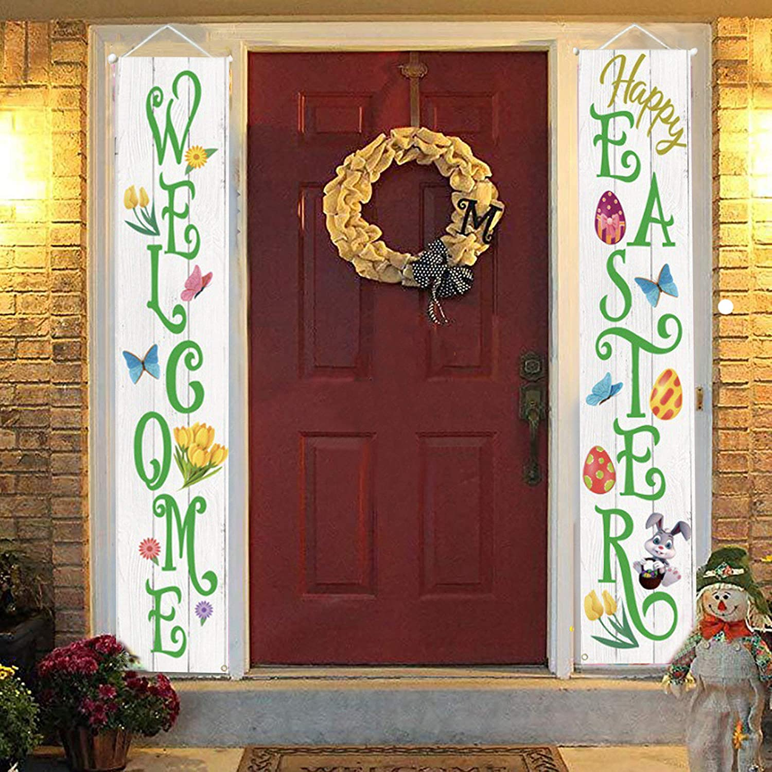 Easter Porch Banners,Front Door Porch Sign Banner,Hanging Welcome Easter Decoration,for Holiday Home Indoor Outdoor Porch Wall Decorations