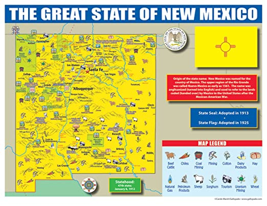 Amazon.com : Gallopade Publishing Group New Mexico State Map for ...
