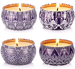 Hausware Scented Candles Set of 4 Pack,4X4.4 oz Candles Aromatherapy with Frangrance Essential Oils Vanilla Lavender Lemon Apple &Cinnamon,Gift Set for Birthday,Thanksgiving Day,Halloween Decoration