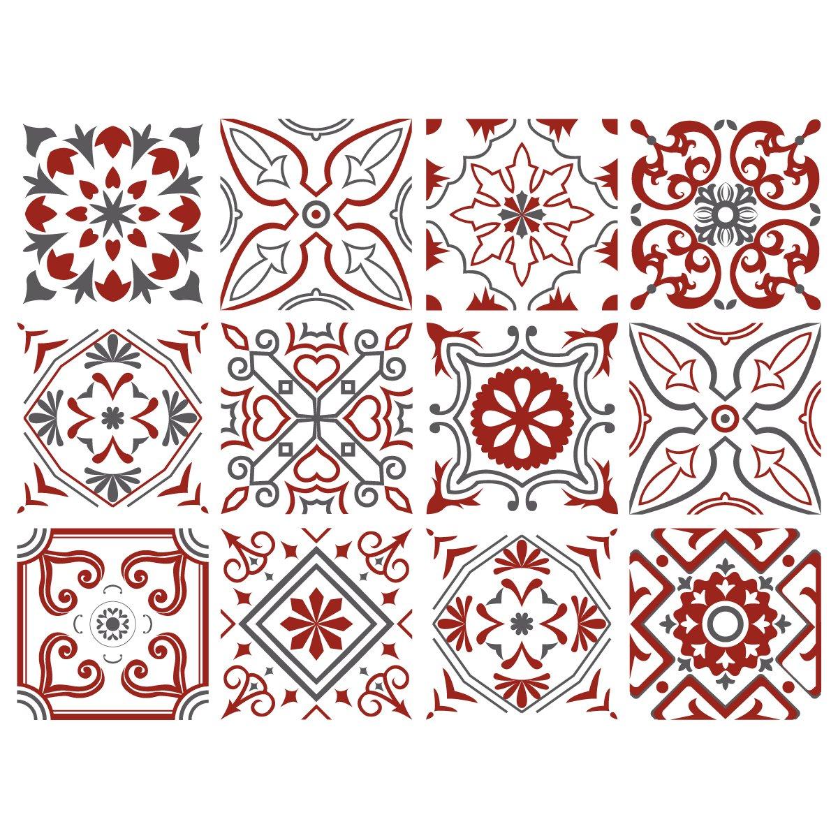 Adhésif carrelage - Sticker carreaux de ciment - Autocollant - Décoration - Bisknight (Rouge, Gris, Blanc) - 12 pièces (10 x 10 cm) Adzif.biz