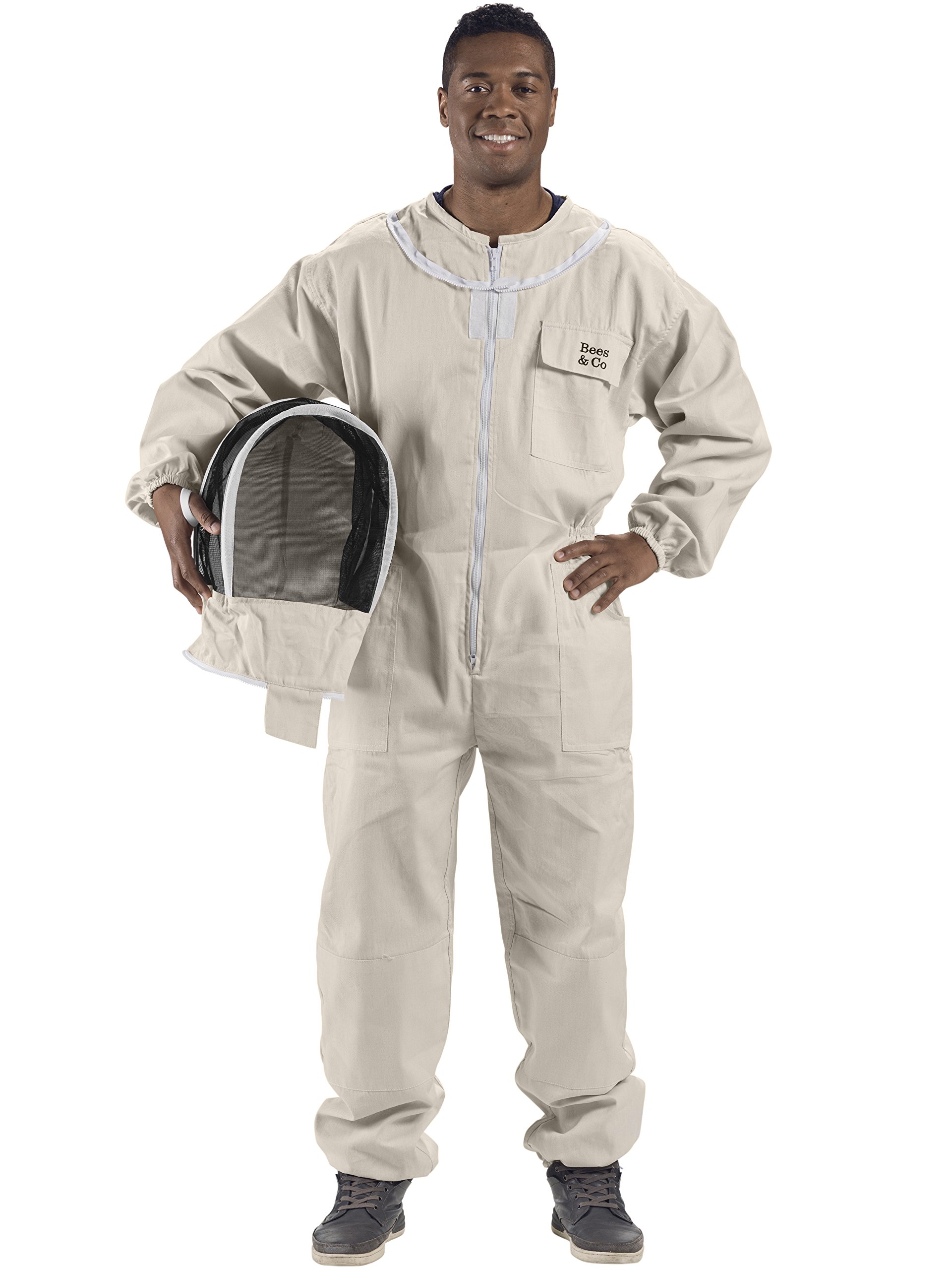 Bees & Co U74 Natural Cotton Beekeeper Suit with Fencing Veil