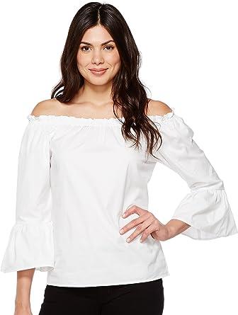 17ec745d1faa6 Karen Kane Women s Convertible Off The Shoulder Top White Shirt at ...