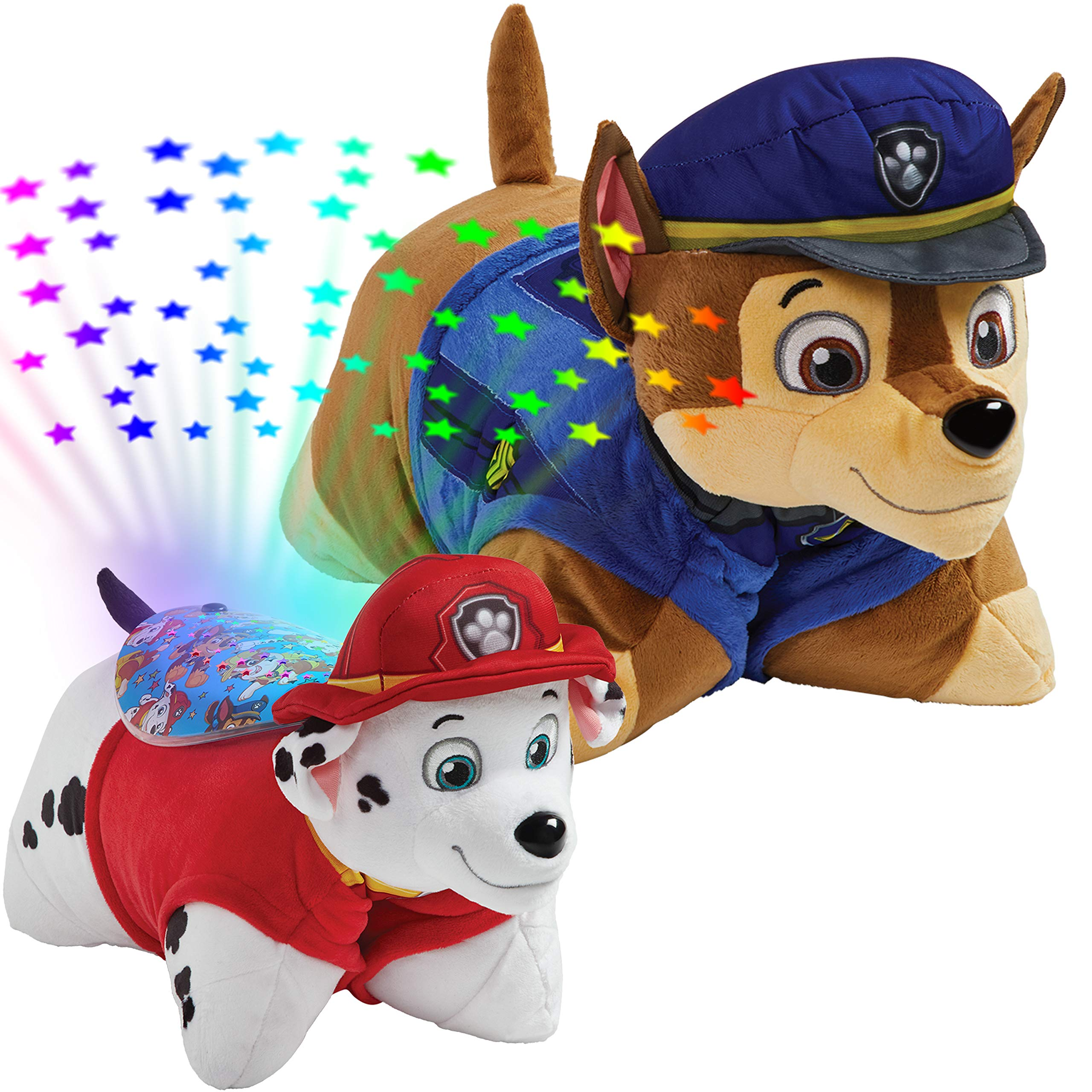Pillow Pets Nickelodeon Paw Patrol, 16'' Chase Marshall Sleeptime Lites, Stuffed Animal Plush Toy & Night Light, Multicolor 061202CM by Pillow Pets