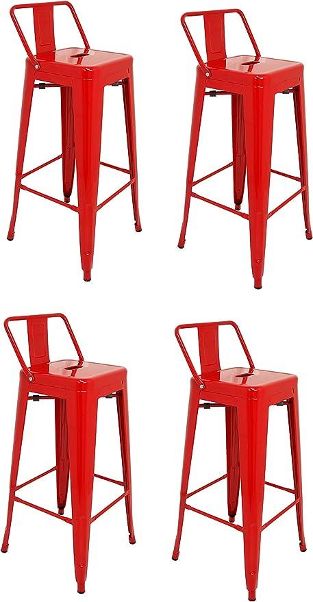 La Silla Española - Pack 4 Taburetes estilo Tolix con respaldo. Color Rojo. Medidas 95x44,5x44,5: Amazon.es: Hogar