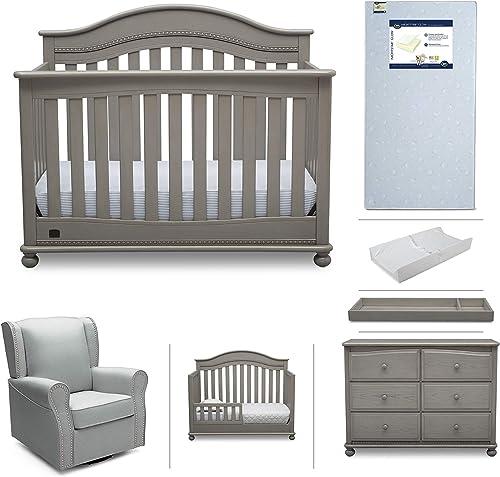 Baby Nursery Furniture Set - 7 Pieces Including Convertible Crib, Dresser, Rocking Chair, Crib Mattress, Toddler Rail, Changing Top, Changing Pad - Simmons Kids Bristol Storm Grey Dove Grey