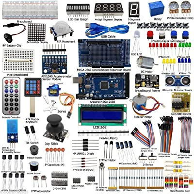 Complete Ultimate STEM Electronic Projects Starter Kit for Arduino with Mega2560, LCD1602, Servo, Stepper Motor, Sensors, Breadboard , Jumper Wire, Resistor, Capacitor, Transistor and Tutorial: Toys & Games [5Bkhe1106332]