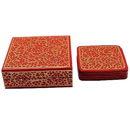 Pintado a mano caja de regalo de 6 piezas florales del arte de papel cartón piedra