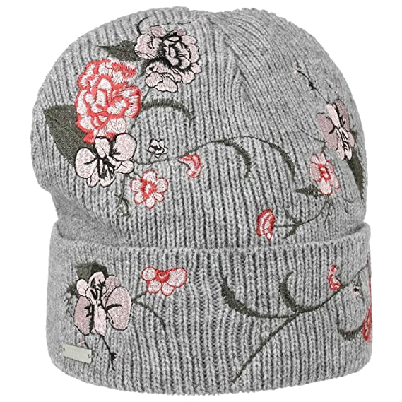 8ab15f8a046 Seeberger Hats Embroidered Flower Beanie Hat - Grey 1-Size  Amazon ...