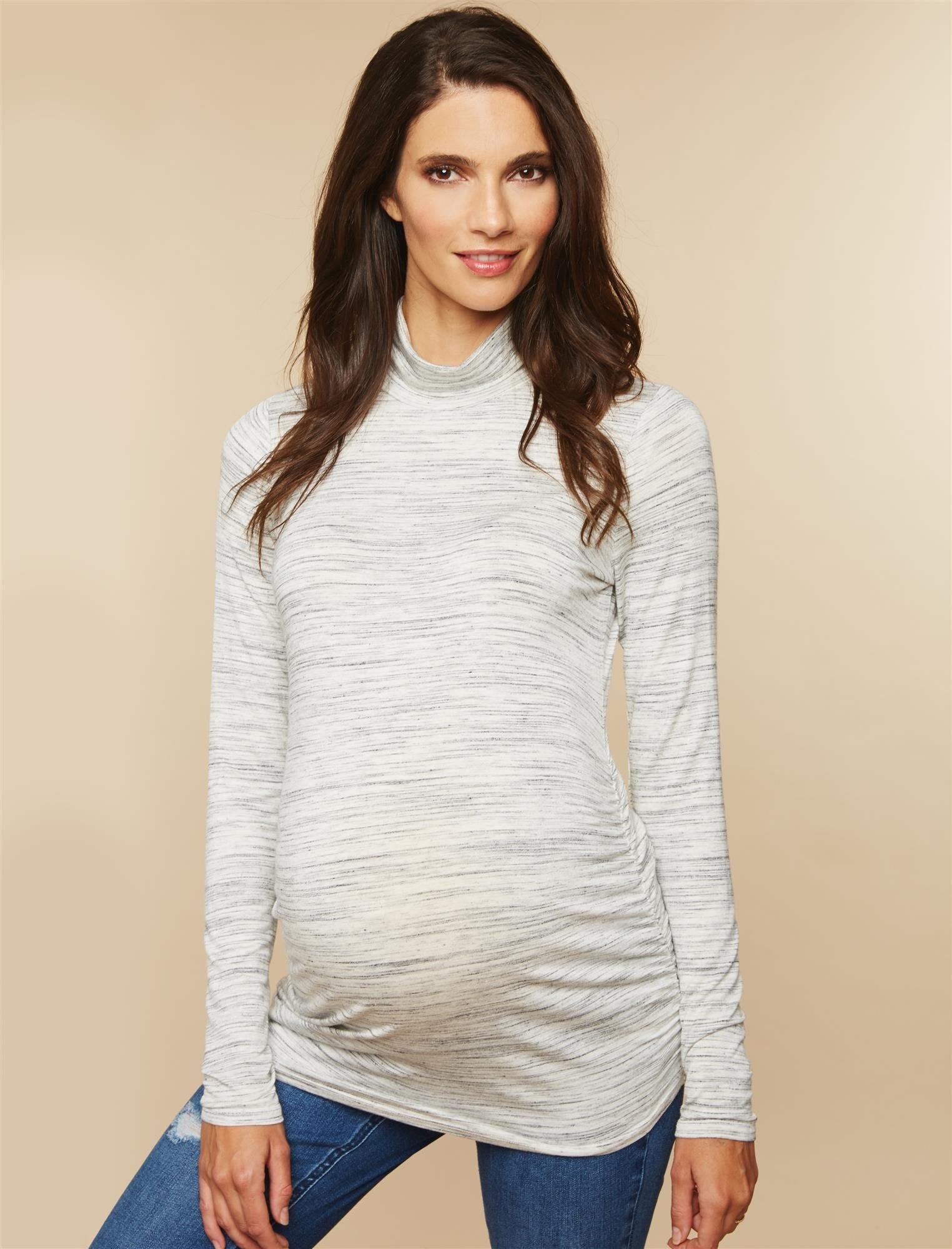 Motherhood Maternity Women's Maternity Long Sleeve Side Ruche Turtleneck Knit Top, Grey Space Dye, Medium by Motherhood Maternity (Image #3)