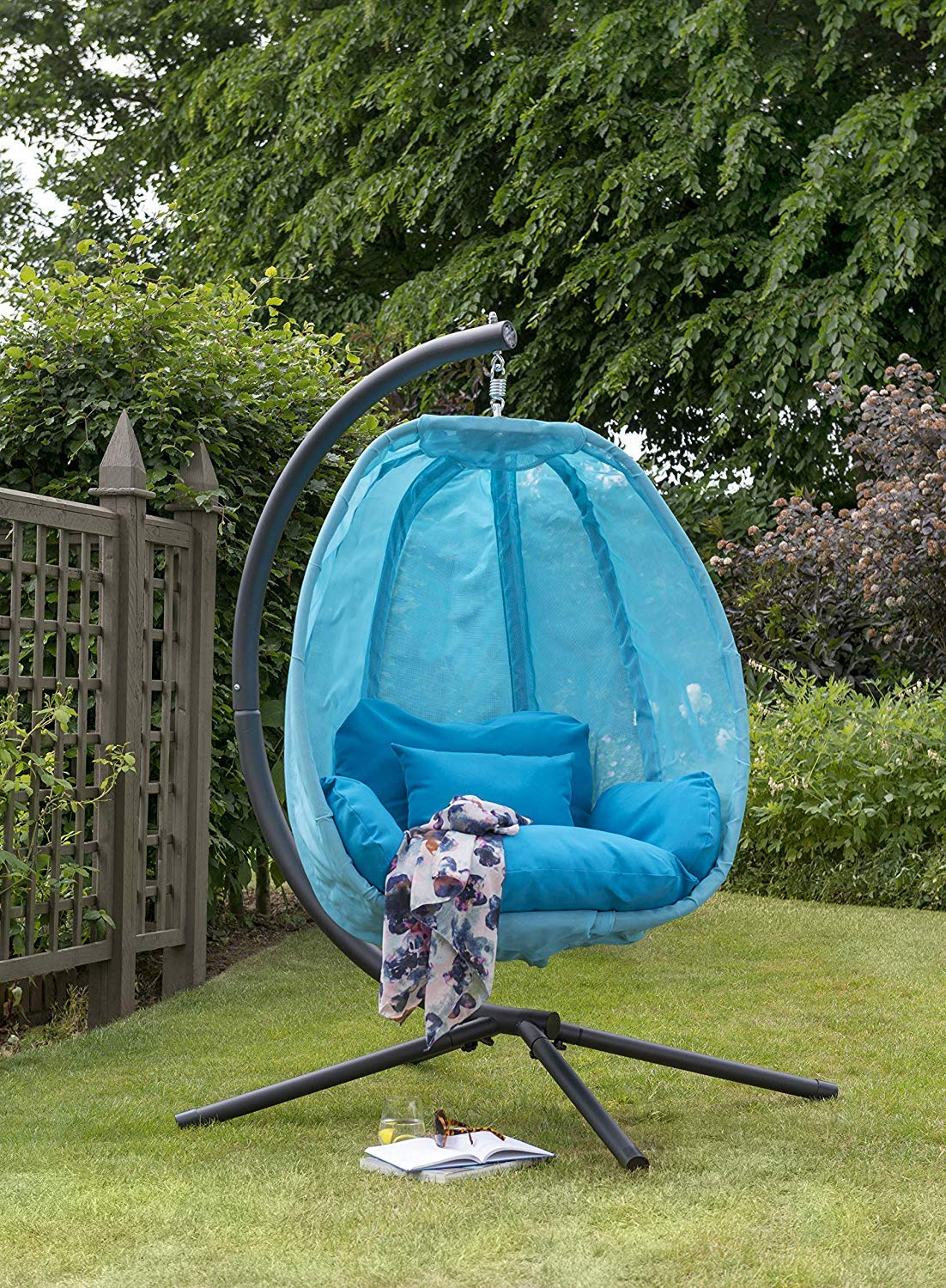 Blue Cocoon Hanging Egg Chair Swing Textilene Garden Furniture In Or
