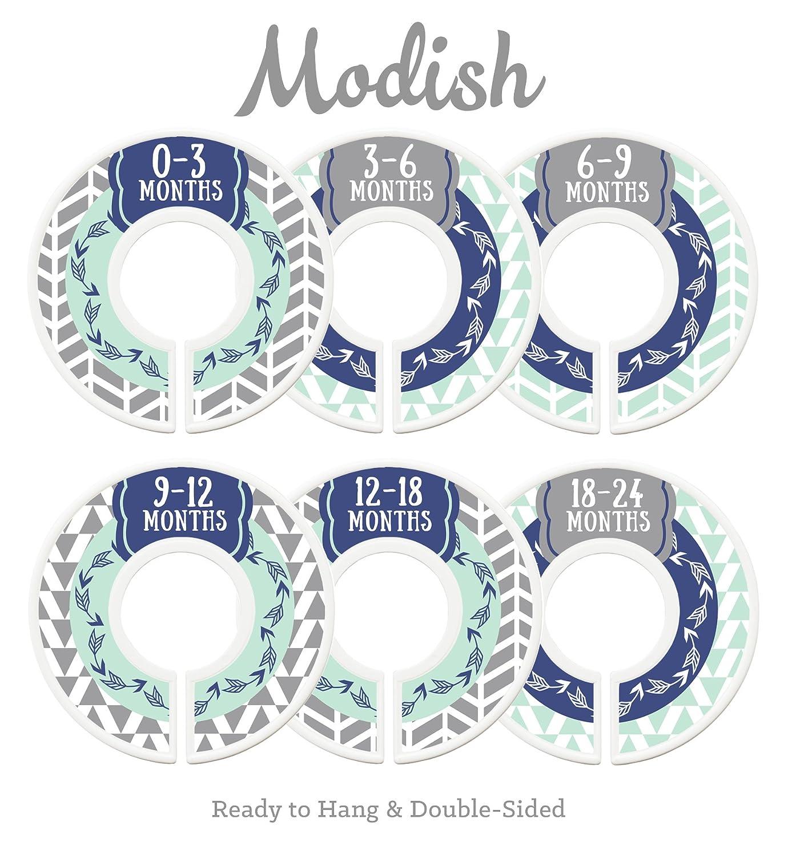 Modish Labels Baby Nursery Closet Dividers, Closet Organizers, Nursery Decor, Baby Boy, Woodland, Arrow, Tribal, Navy Blue, Mint, Grey Inc. 687847980407