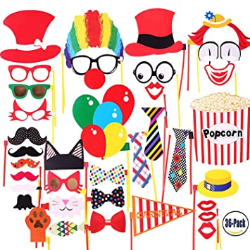 COOLOO Circus Photo Booth Props For Carnival PartyWeddingBirthday BridalGraduation