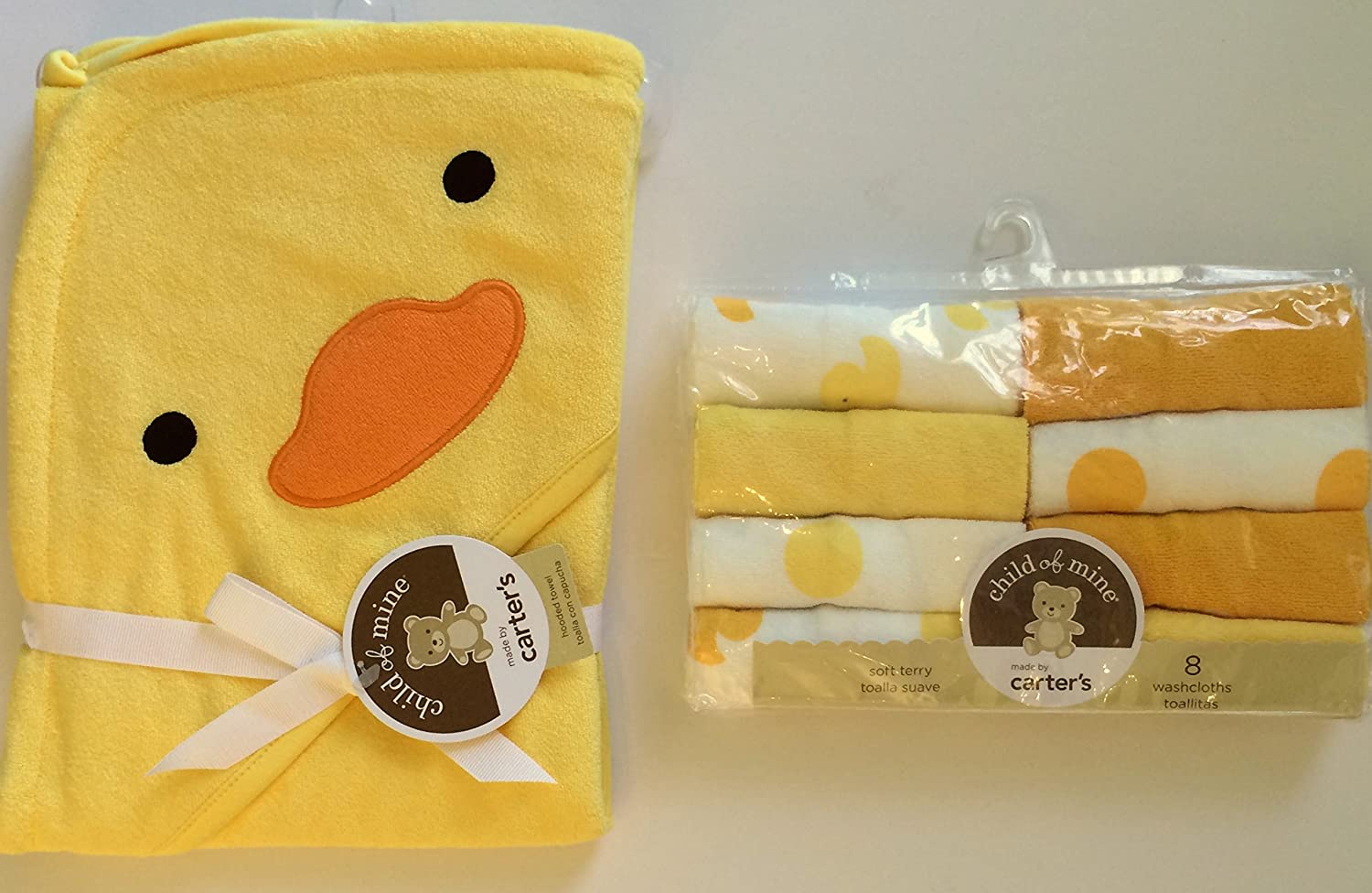 Amazon.com: Child of Mine Carters Duck Hooded Baby Bath Towel and 8 Washcloths: Baby