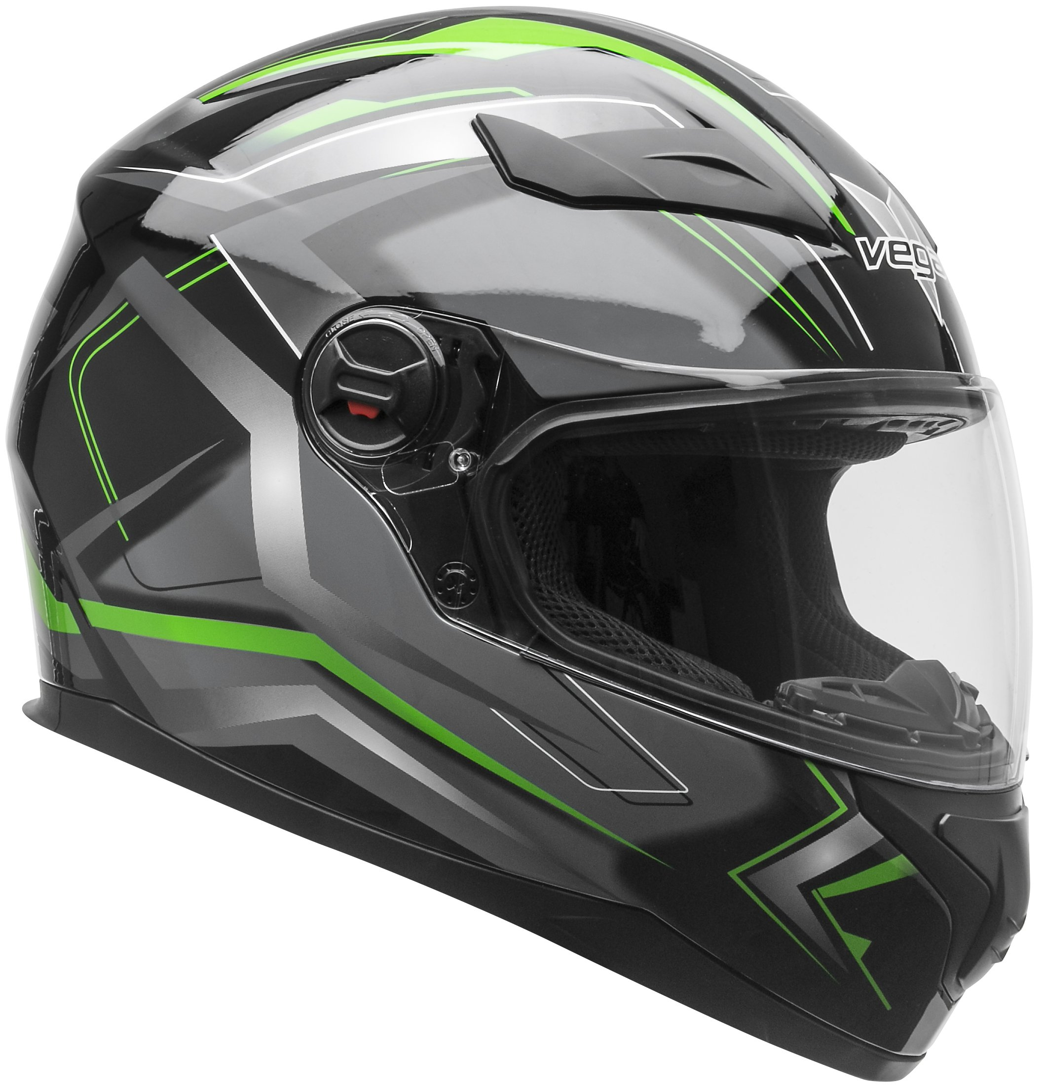 Vega Helmets AT2 Street Motorcycle Helmet for Men & Women – DOT Certified Full Face Motorbike Helmet for Cruisers Sports Street Bike Scooter Touring Moped (Green Flash Graphic, Large)