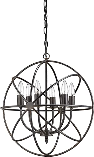 Creative Co-Op DA1616 Orbital Metal Hanging Chandelier with 6 Lights