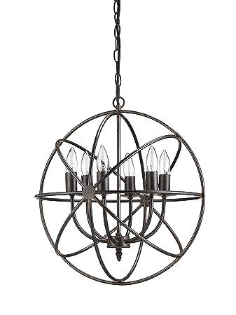 Creative Co-Op DA1616 Orbital Metal Hanging Chandelier with 6 Lights