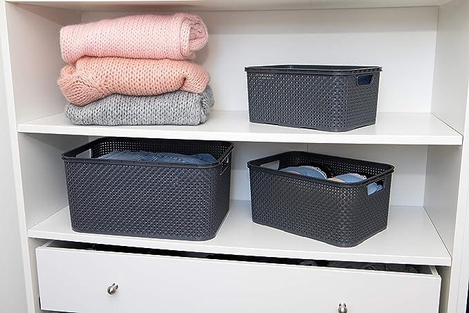 BranQ Home essential 5901098045704 Lot de 3 paniers en rotin synth/étique Cr/ème Taille S 7 l 28,5 x 19,5 x 12,9 cm