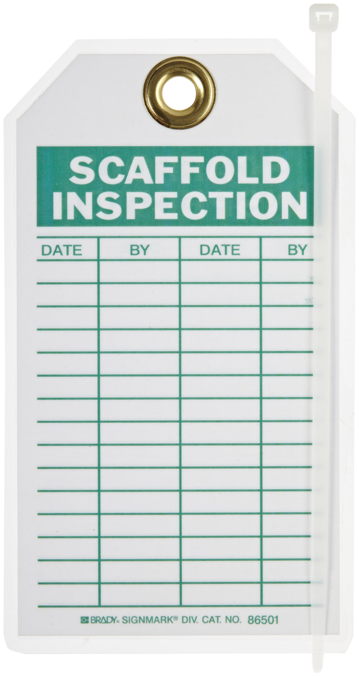 Brady  86501 7'' Height x 4'' Width, Heavy Duty Polyester (B-837), Green on White Scaffold Inspection Tags (10 Tags) by Brady