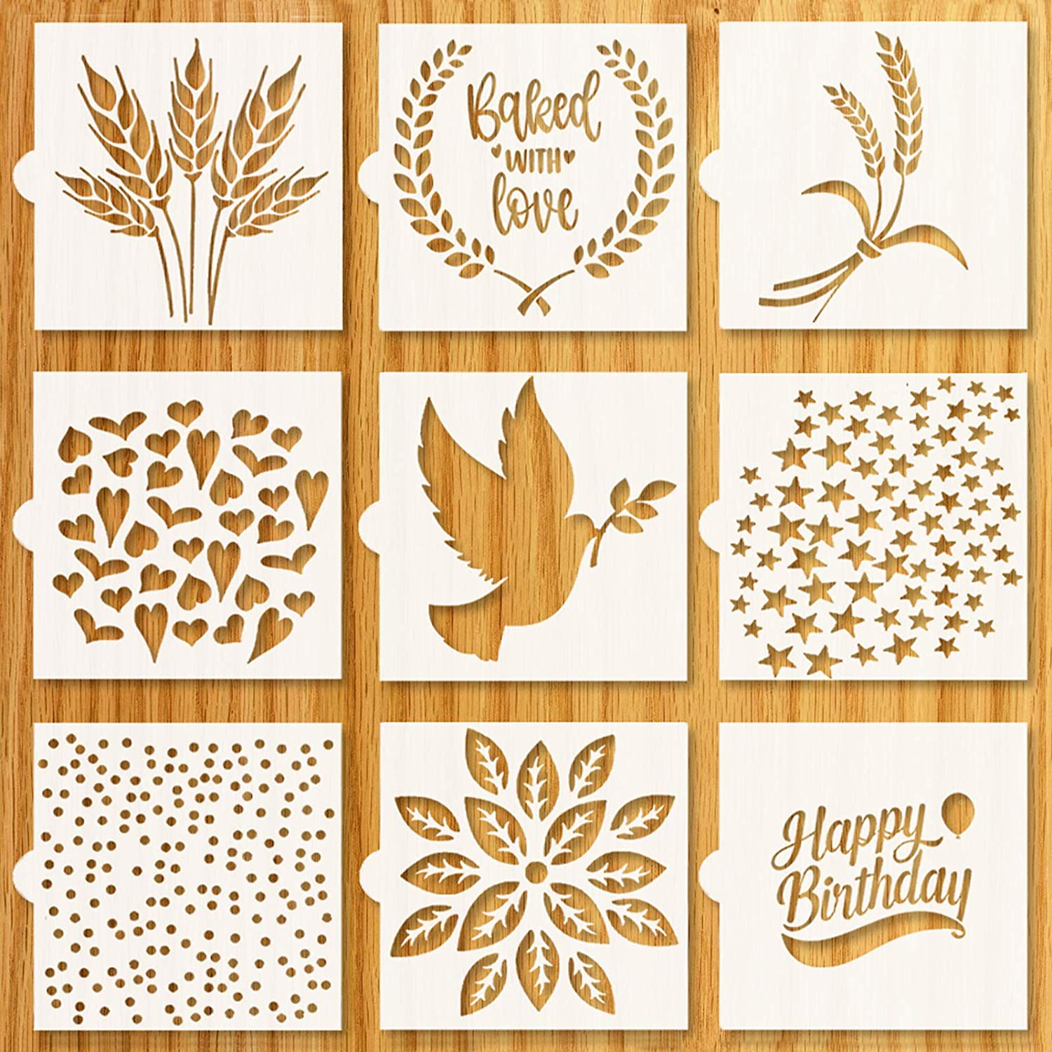 "Artisan Bread Stencils | Bread, Cake, Pie, or Cookie Stencils (Set of 9) for Decorating Your Own Unique Design | Baking Stencil Set (5.5"" by 5.5"") Includes Classic Wheat, Stars, Hearts & More"