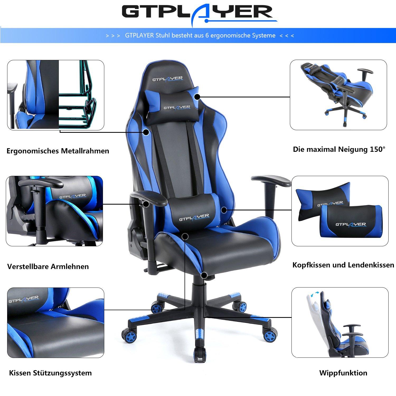 GTPLAYER Silla Gaming Ergonómica(Reposabrazos 2D Ajustables, Respaldo Reclinable 150°, Cojines de Cuello y Lumbar, Función de Balanceo Controlable), ...