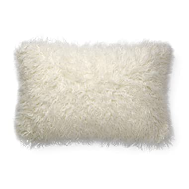 Now House by Jonathan Adler Faux Mongolian Fur Lumbar Pillow, White