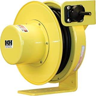 product image for KH Industries RTF Series ReelTuff Industrial Grade Retractable Power Cord Reel, 14/4 SOOW Cable, 12 Amp, 50' Length, Yellow Powder Coat Finish