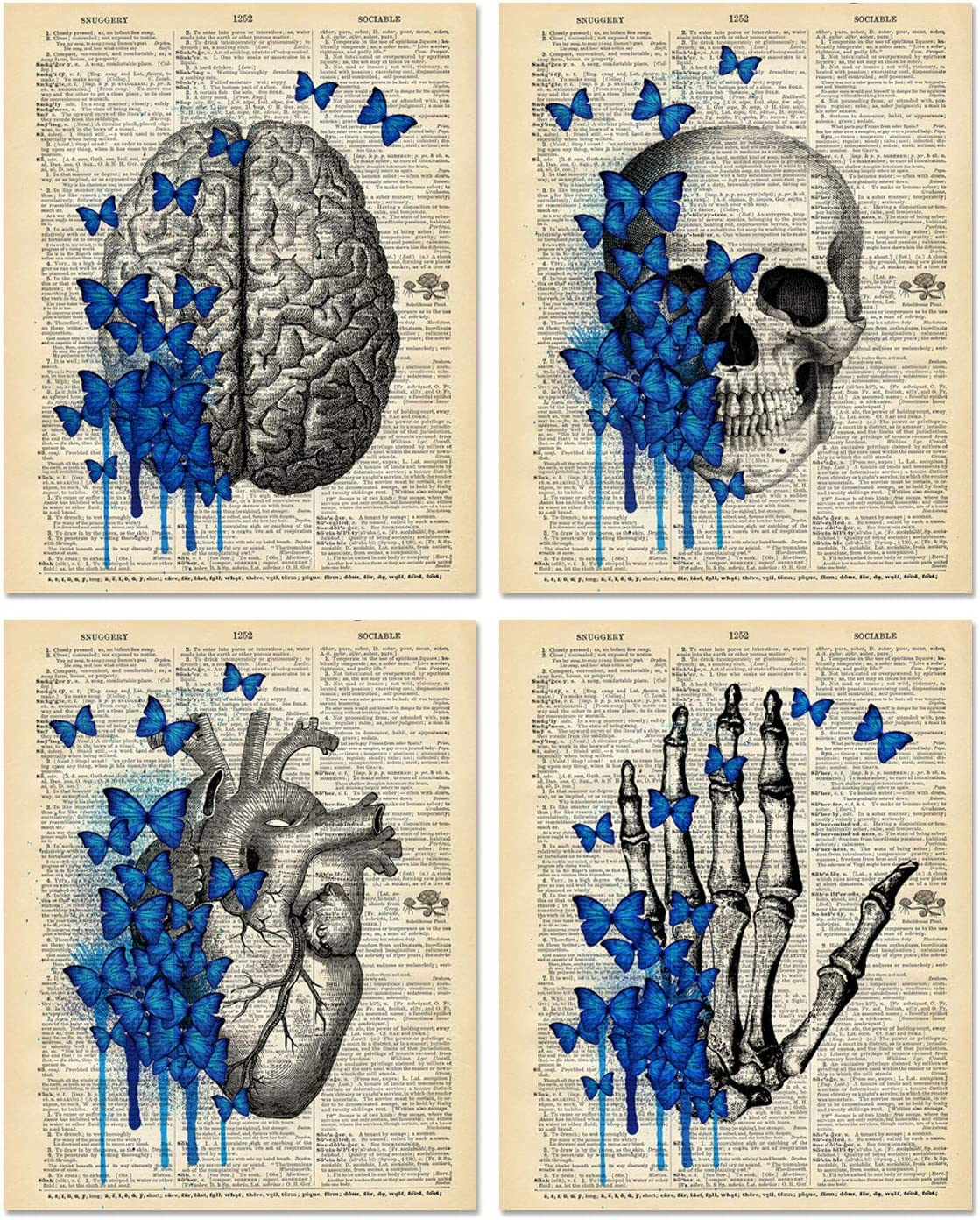 Flower Anatomy Art Prints - Dictionary Organs Goth Room Decor - Set of 4 Unframed (8x10 inches) Steampunk Medical Wall Decor - Vintage Theme - Not On Real Dictionary Pages - Set 2
