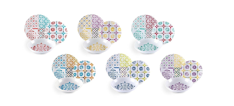 Excelsa maioliche Service Table, Porcelaine, Multicolore, 18unités Bergamaschi & Vimercati 61799