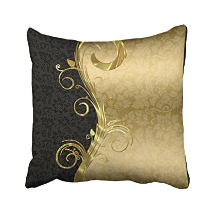 Magnificent Capsceoll Damask Elegant Blacks Gold Swirls Round Decorative Throw Pillow Case 18X18Inch Home Decoration Pillowcase Zippered Pillow Covers Cushion Gamerscity Chair Design For Home Gamerscityorg