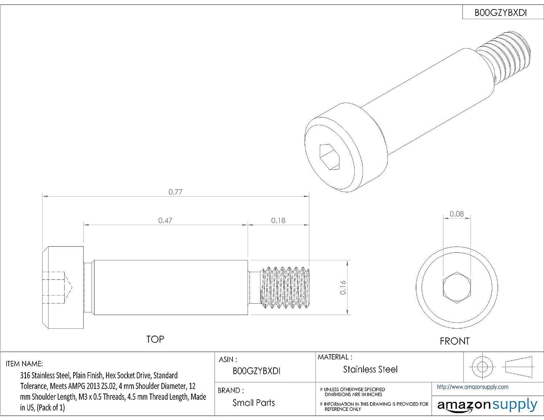 Made in US, 12 mm Shoulder Length 4.5 mm Thread Length Plain Finish M3-0.5 Threads Socket Head Cap Hex Socket Drive Pack of 1 Standard Tolerance 4 mm Shoulder Diameter 316 Stainless Steel Shoulder Screw
