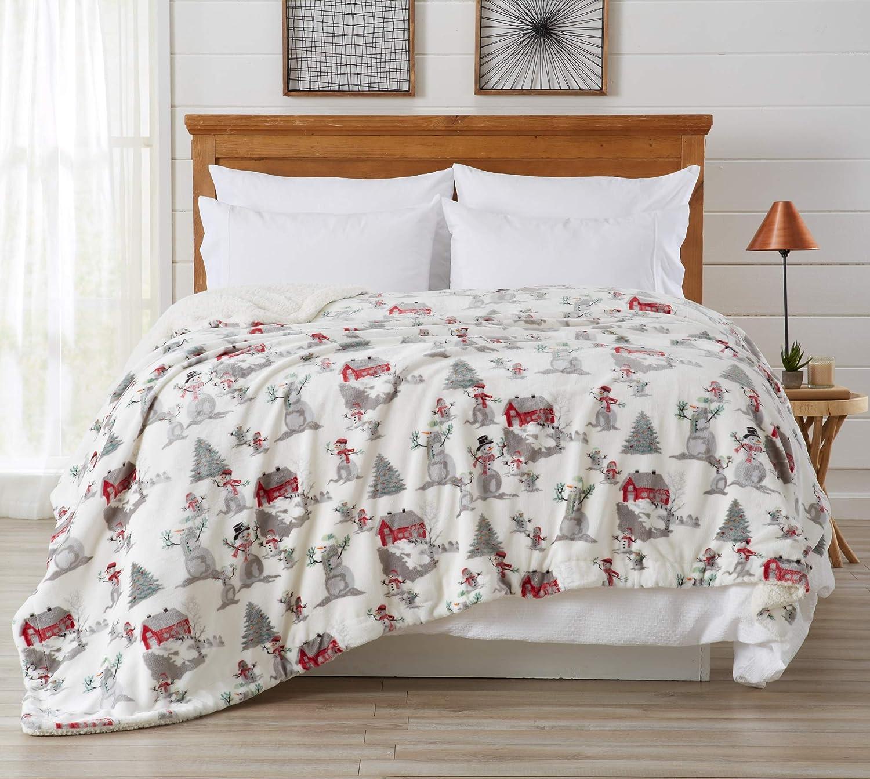 Home Fashion Designs Premium Reversible Sherpa and Fleece Velvet Plush Blanket. Fuzzy, Soft, Warm Berber Fleece Bed Blanket. (King, Winter Wonderland)