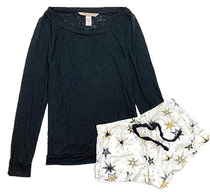 5a2dac5963c9 Victoria's Secret Women's The Lounge Short PJ Lightweight Flannel Pajamas  Set Black/Cream Gold Stars X-Small at Amazon Women's Clothing store: