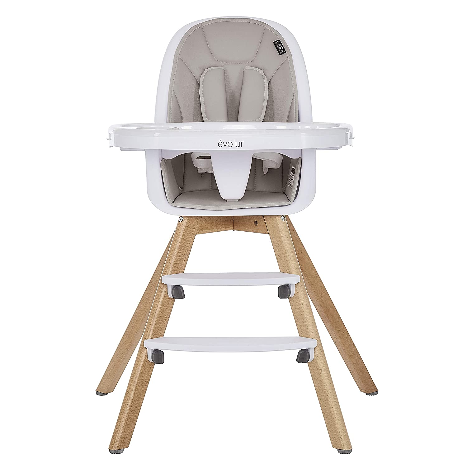 Evolur Zoodle 3-in-1 High Chair I Booster Feeding Chair I Modern Design I Toddler Chair I Removable Cushion I Adjustable Tray I Baby, Infant, and Toddler in Light Grey