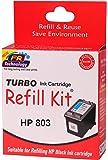 Turbo refill kit for hp 803 black ink cartridge